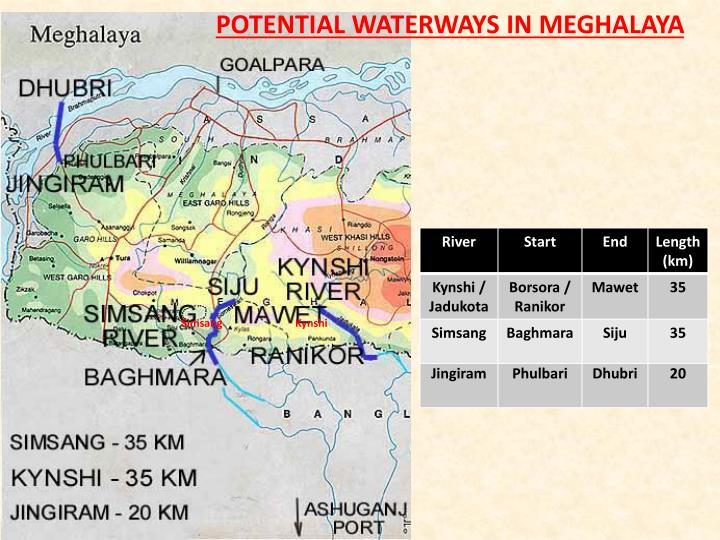 POTENTIAL WATERWAYS IN MEGHALAYA