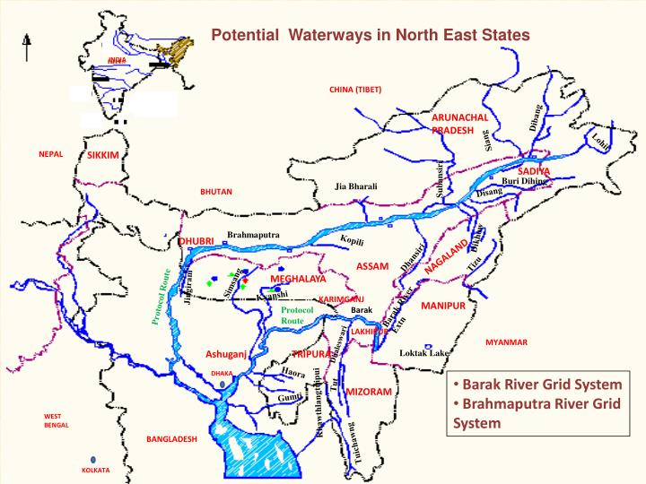 Potential  Waterways in North East States