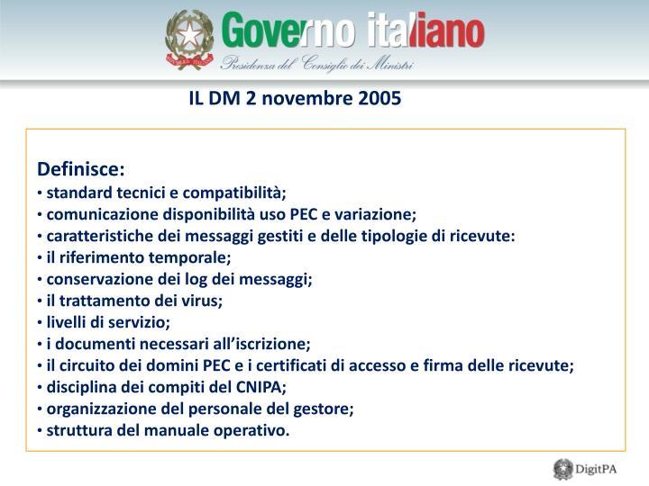 IL DM 2 novembre 2005