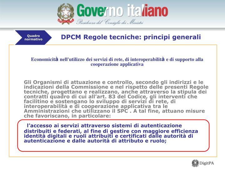 DPCM Regole tecniche: principi generali