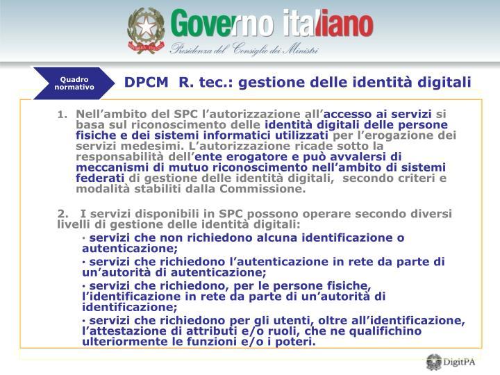 DPCM  R. tec.: gestione delle identità digitali