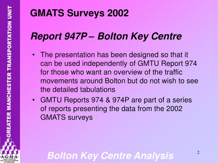 The presentation has been designed so that it can be used independently of GMTU Report 974 for those who want an overview of the traffic movements around Bolton but do not wish to see the detailed tabulations