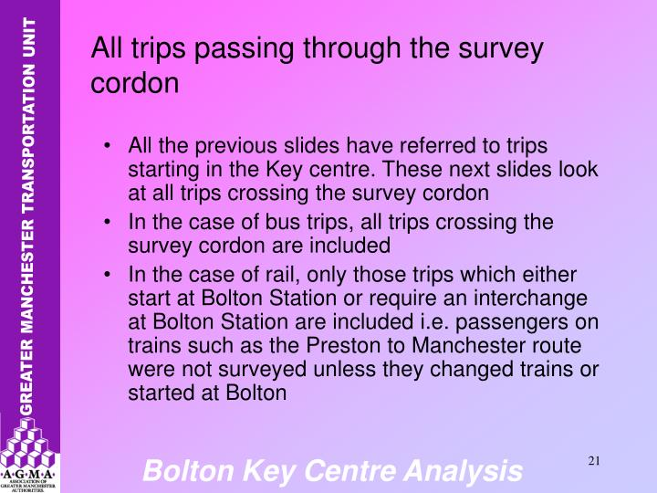 All the previous slides have referred to trips starting in the Key centre. These next slides look at all trips crossing the survey cordon