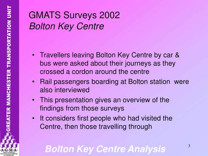 Travellers leaving Bolton Key Centre by car & bus were asked about their journeys as they crossed a cordon around the centre