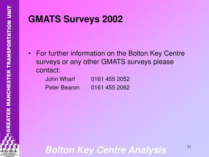 For further information on the Bolton Key Centre surveys or any other GMATS surveys please contact: