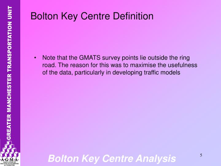 Note that the GMATS survey points lie outside the ring road. The reason for this was to maximise the usefulness of the data, particularly in developing traffic models