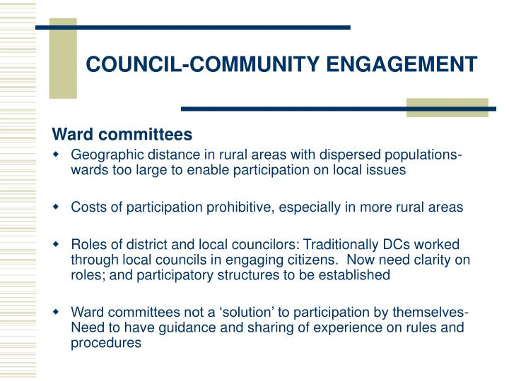 COUNCIL-COMMUNITY ENGAGEMENT