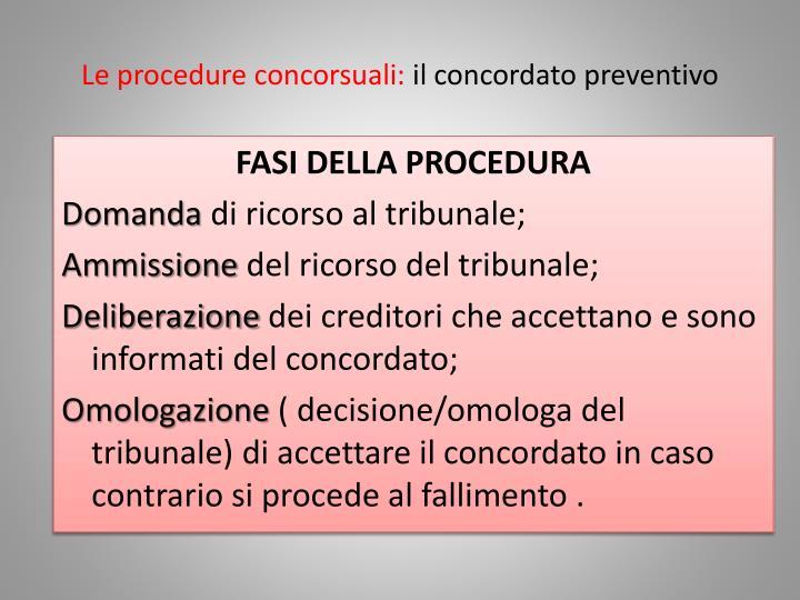Le procedure concorsuali: