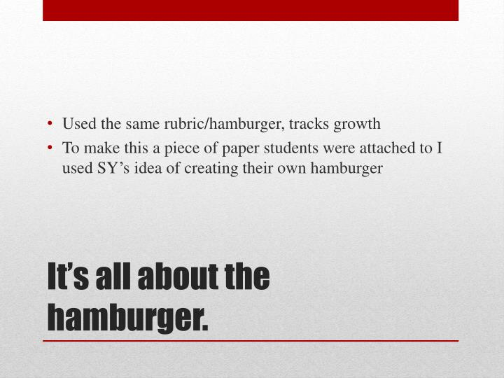 Used the same rubric/hamburger, tracks growth