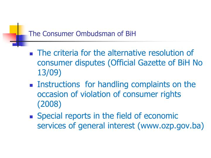 The Consumer Ombudsman of BiH