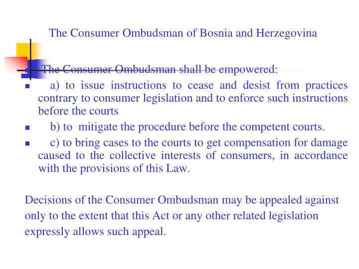 The Consumer Ombudsman of Bosnia and Herzegovina