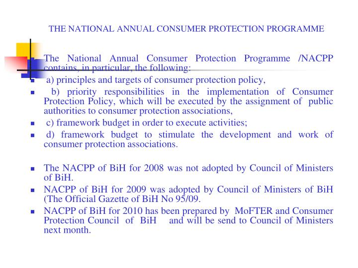 THE NATIONAL ANNUAL CONSUMER PROTECTION PROGRAMME