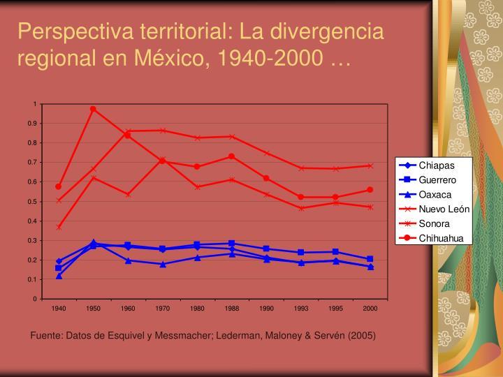 Perspectiva territorial: La divergencia regional en México, 1940-2000 …