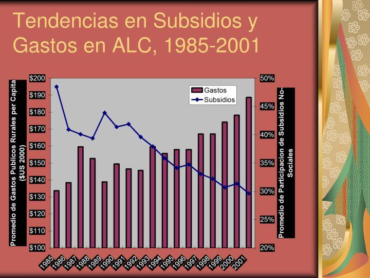 Tendencias en Subsidios y Gastos en ALC, 1985-2001