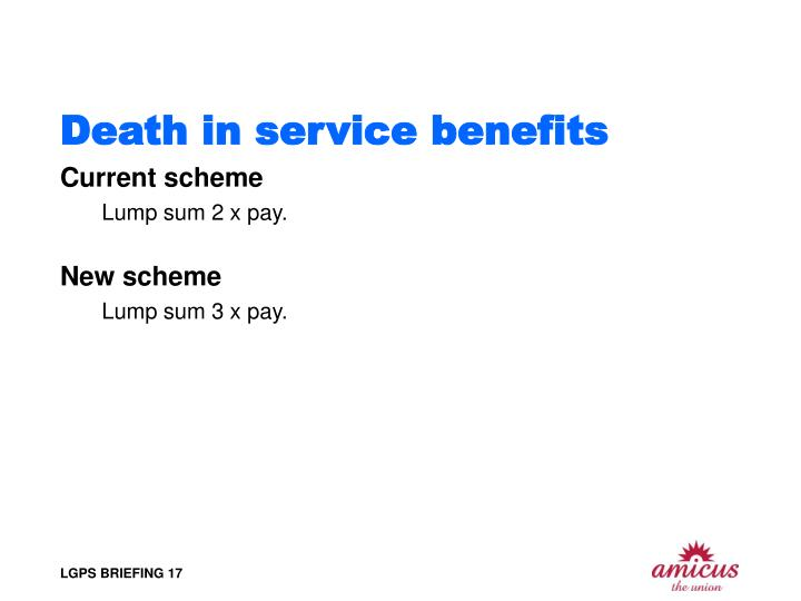 Death in service benefits