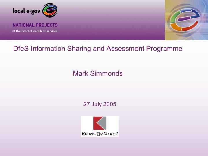 DfeS Information Sharing and Assessment Programme