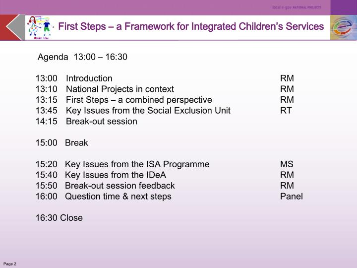 First steps a framework for integrated children s services