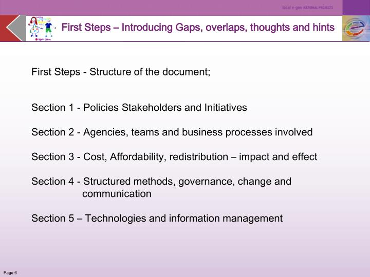 First Steps – Introducing Gaps, overlaps, thoughts and hints