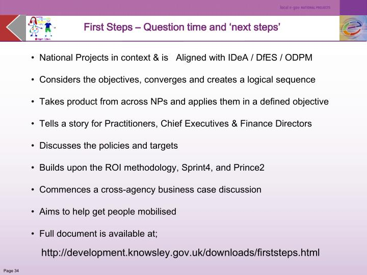 First Steps – Question time and 'next steps'