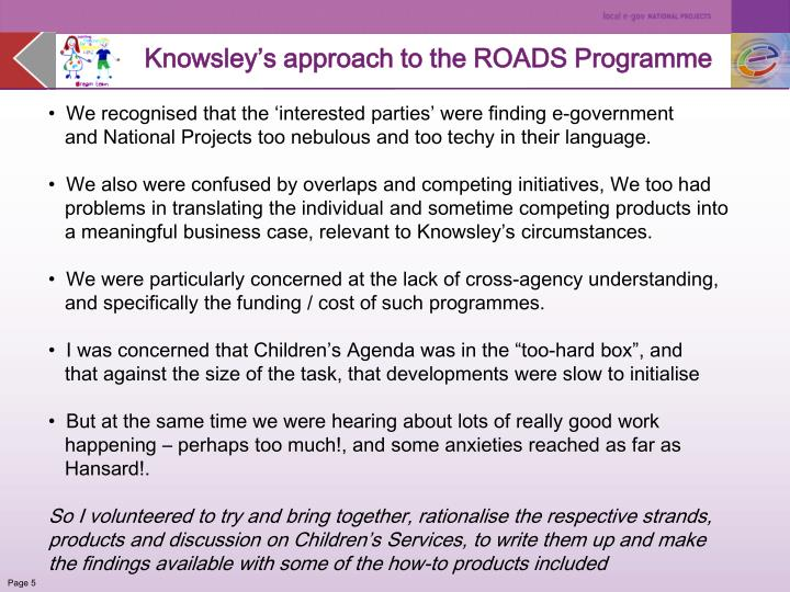 Knowsley's approach to the ROADS Programme