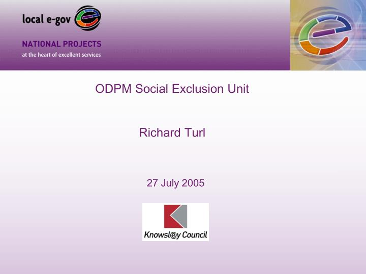 ODPM Social Exclusion Unit