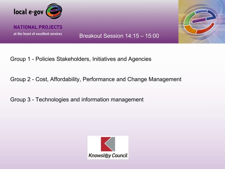 Breakout Session 14:15 – 15:00