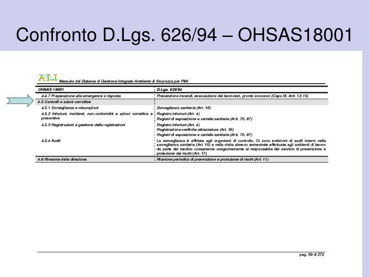 Confronto D.Lgs. 626/94 – OHSAS18001