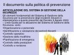 il documento sulla politica di prevenzione1
