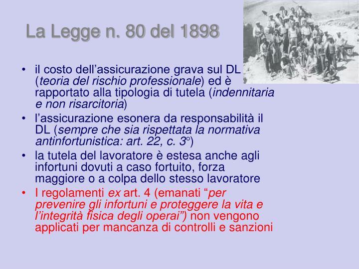 La Legge n. 80 del 1898