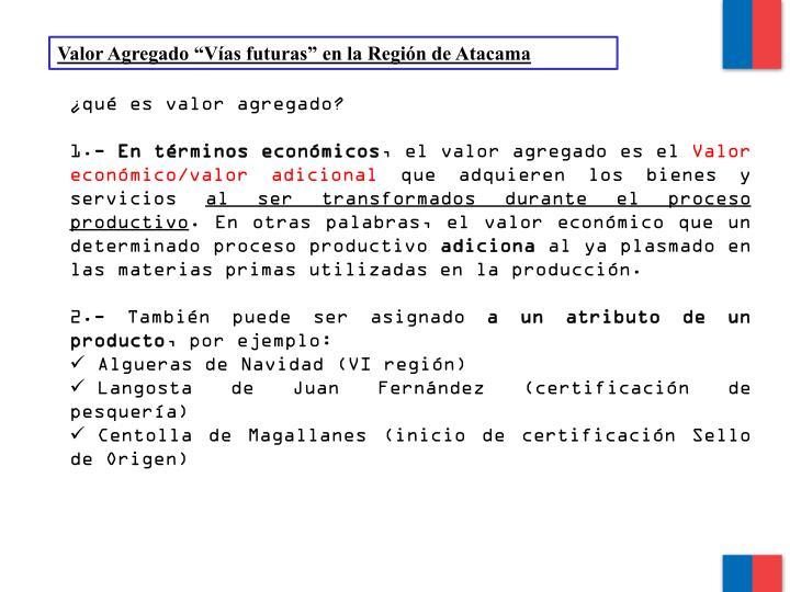 """Valor Agregado """"Vías futuras"""" en la Región de Atacama"""