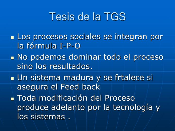 Tesis de la TGS