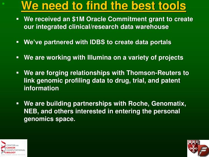 We need to find the best tools