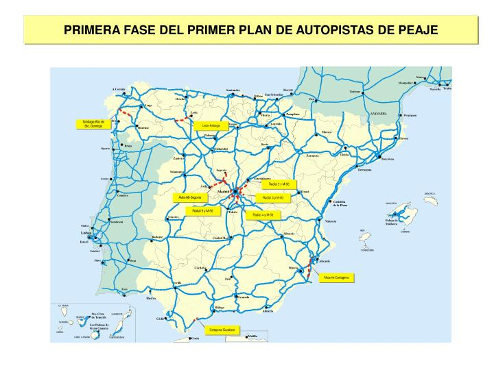 PRIMERA FASE DEL PRIMER PLAN DE AUTOPISTAS DE PEAJE