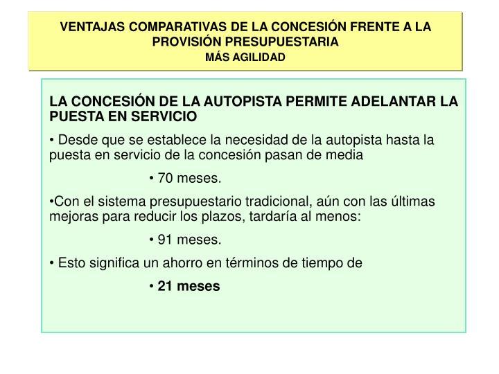 VENTAJAS COMPARATIVAS DE LA CONCESIÓN FRENTE A LA PROVISIÓN PRESUPUESTARIA