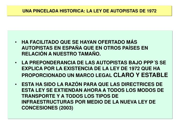 UNA PINCELADA HISTORICA: LA LEY DE AUTOPISTAS DE 1972