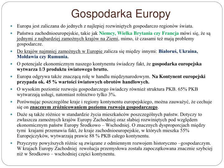 Gospodarka Europy
