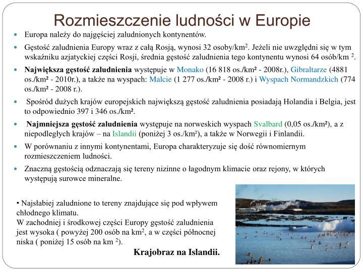 Rozmieszczenie ludności w Europie