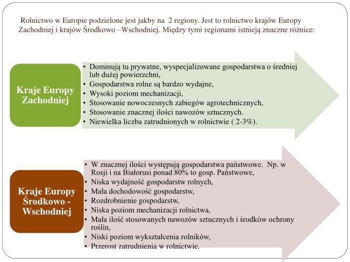 Rolnictwo w Europie podzielone jest jakby na  2 regiony. Jest to rolnictwo krajów Europy Zachodniej i krajów Środkowo –Wschodniej. Między tymi regionami istnieją znaczne różnice: