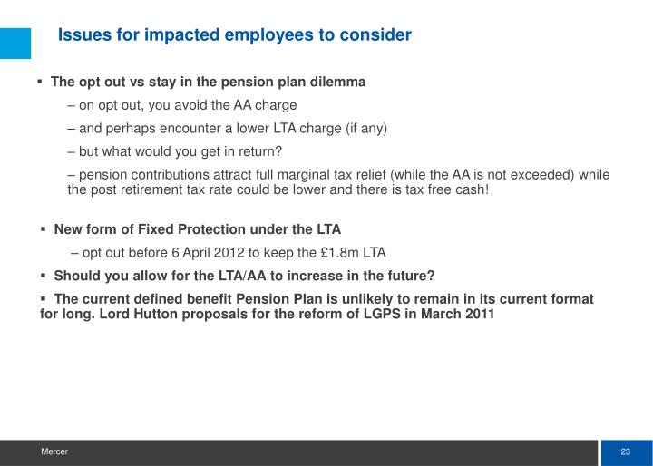 Issues for impacted employees to consider