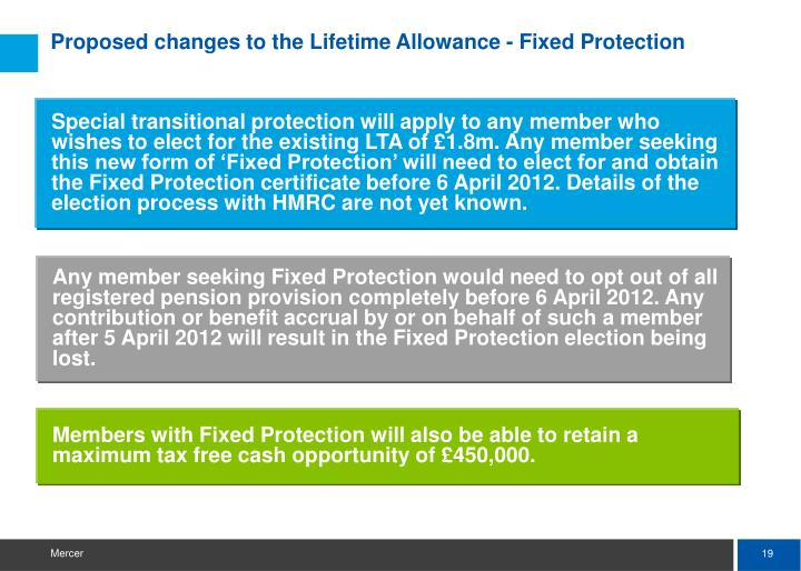Proposed changes to the Lifetime Allowance - Fixed Protection