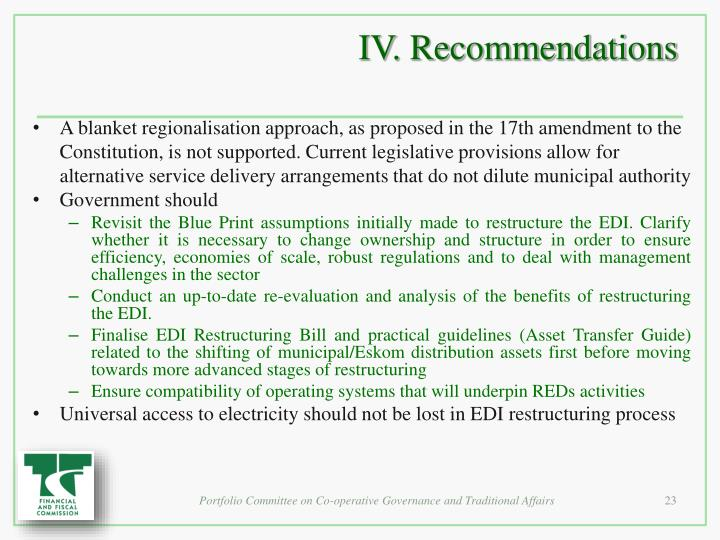 IV. Recommendations