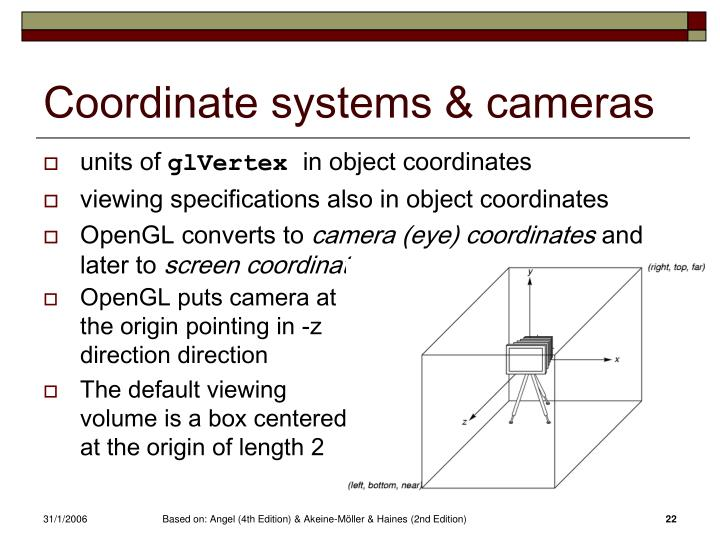 Coordinate systems & cameras
