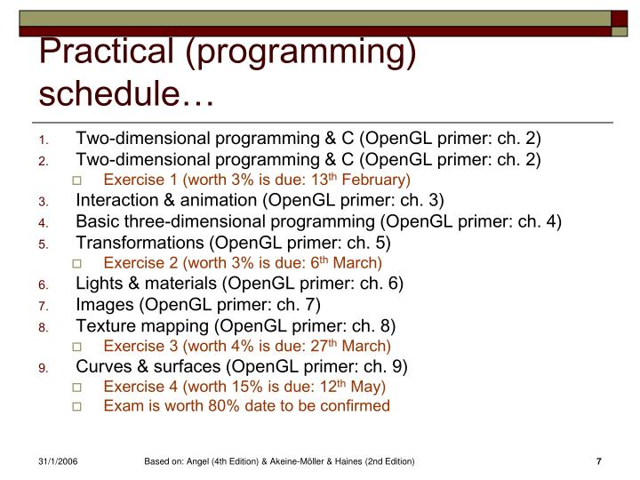 Practical (programming) schedule…