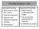 the sbl student s role
