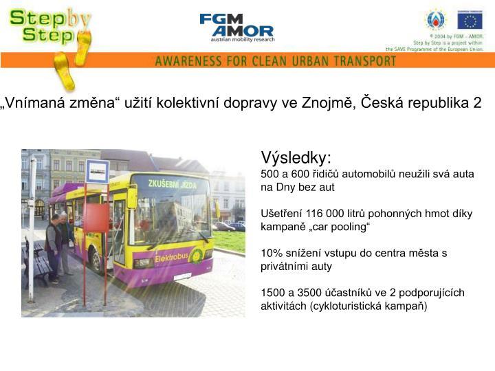 """""""Vnímaná změna"""" užití kolektivní dopravy ve Znojmě, Česká republika 2"""