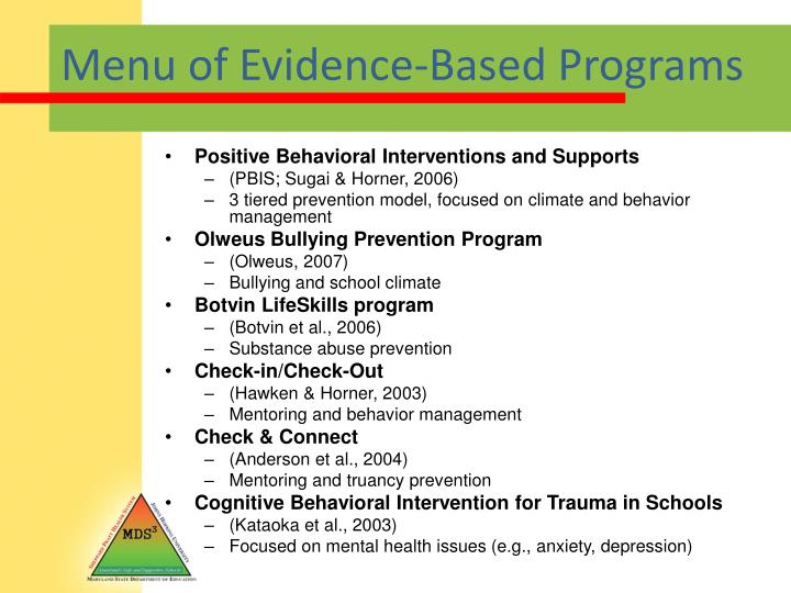 Menu of Evidence-Based Programs