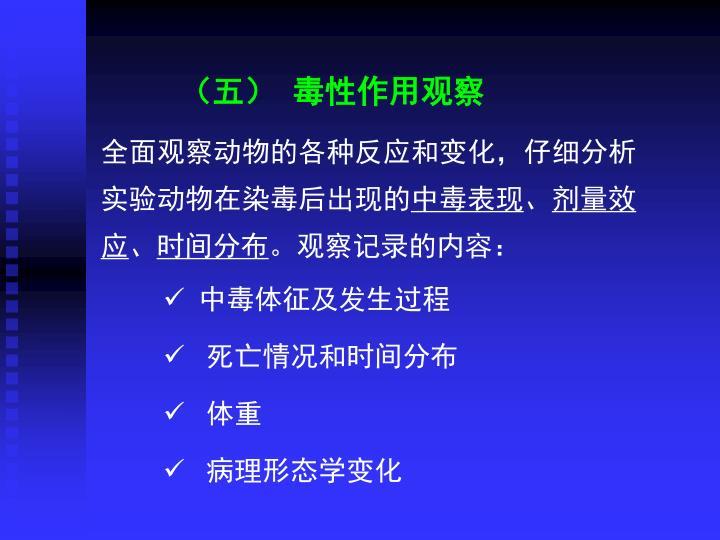 (五) 毒性作用观察