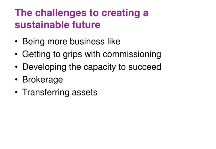The challenges to creating a sustainable future