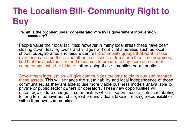 The Localism Bill- Community Right to Buy