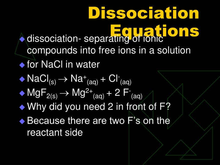 Dissociation Equations
